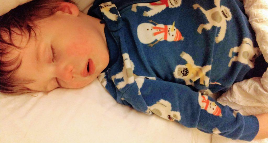 Big A asleep after the autism test