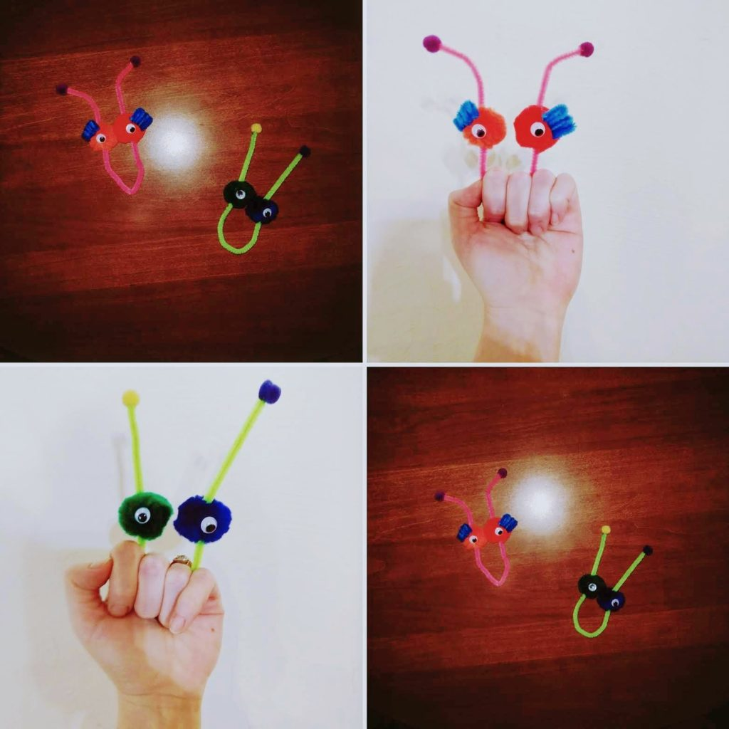 pipe cleaner bug toddler puppets