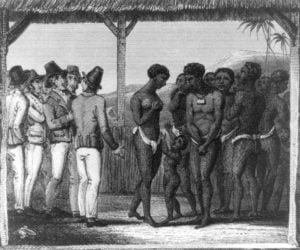 woodcut of a slave auction
