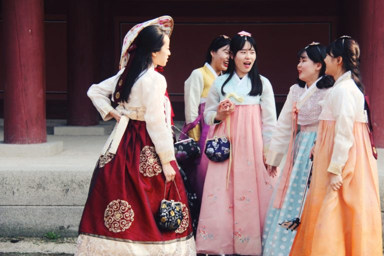 Korean ladies in dresses