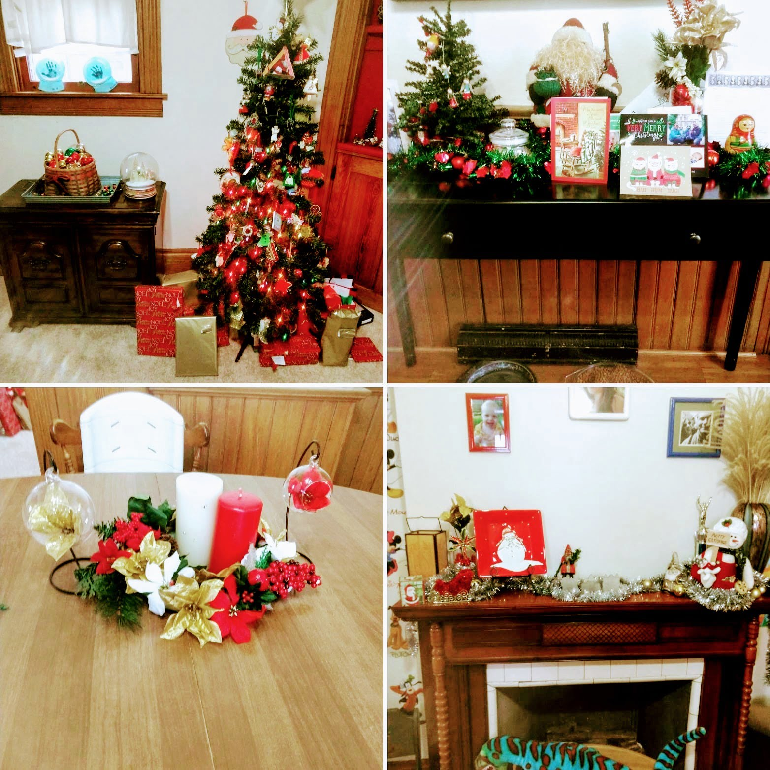 four pictures of interior Christmas decorating