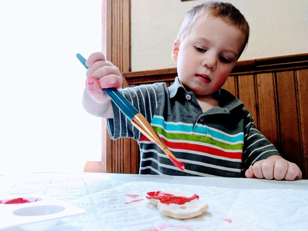 toddler painting homemade christmas ornaments