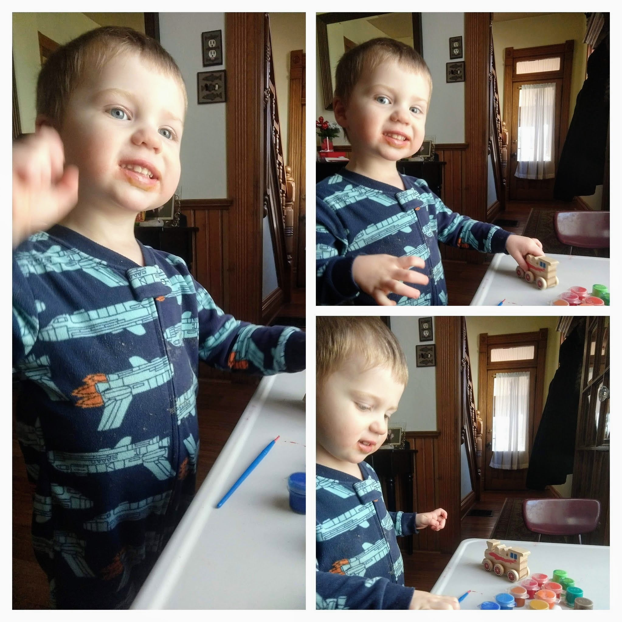 toddler working on arts and crafts