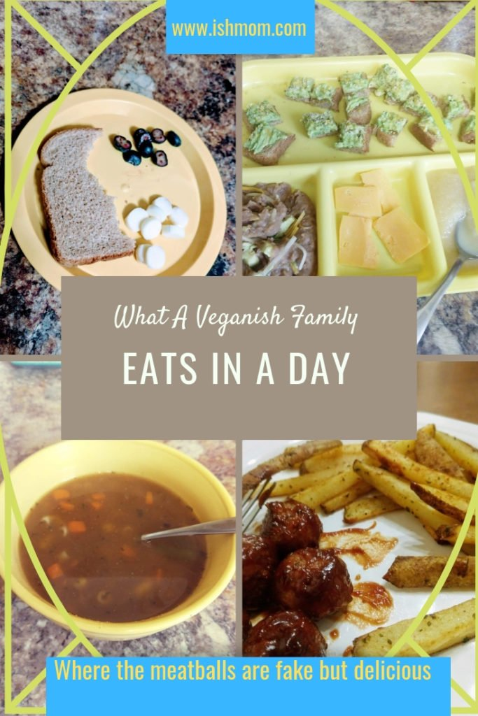 What A Veganish Family Eats In A Day Pinterest Graphic