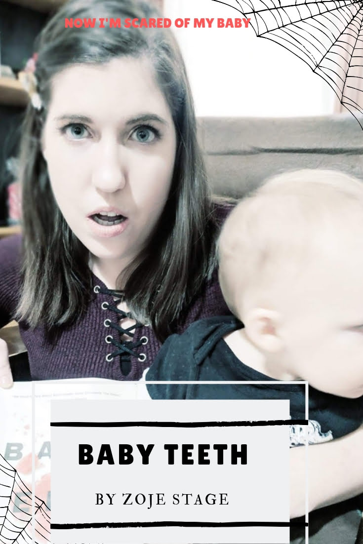 woman holding baby and book looking shocked