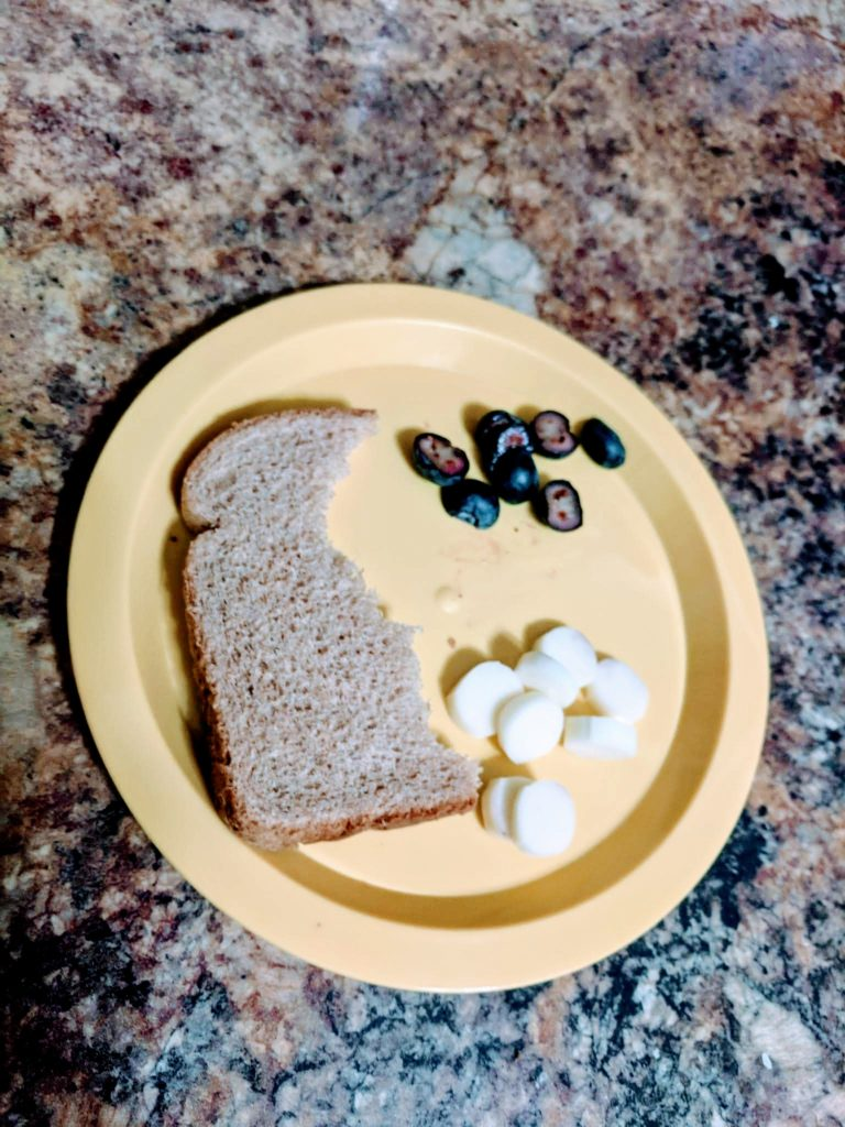 torn bread, cheese, and blueberries on small plate
