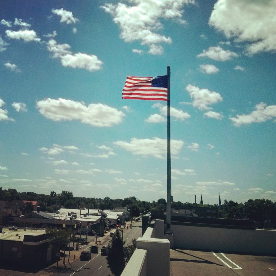 American flag in small downtown