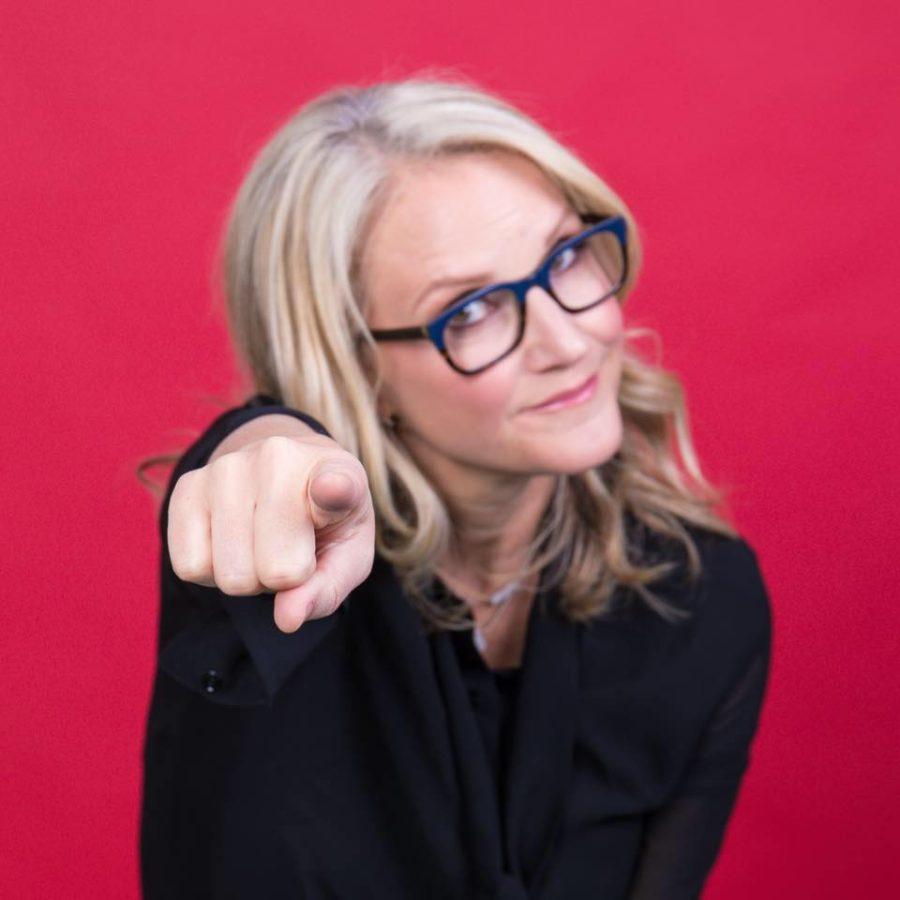 Mel Robbins pointing at camera