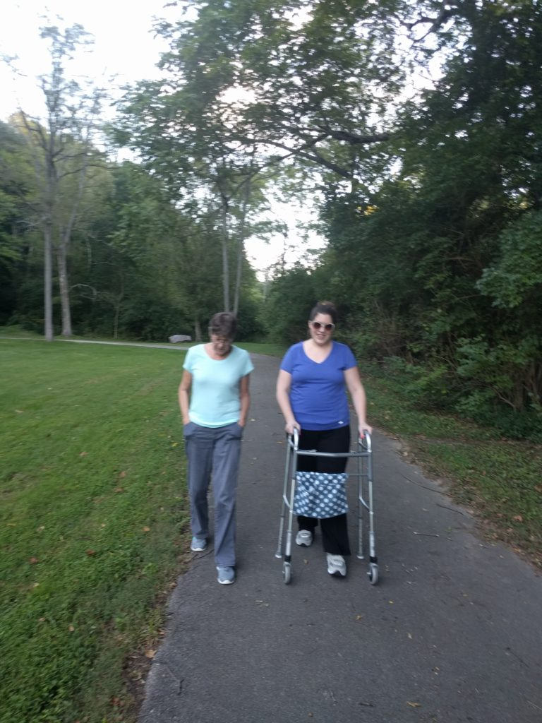 Me and mom walking, healing from the birth injury