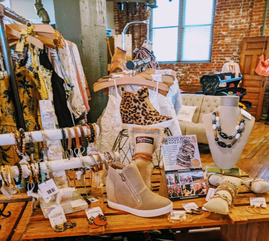 The accessories display at Luxe Lizzies, a boutique in Richmond Indiana