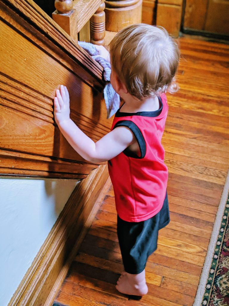 My toddler got so much positive vibes for doing his cleaning chores