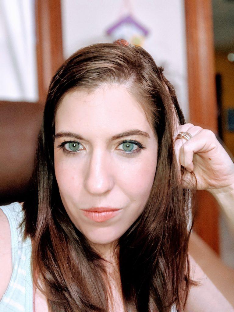 Megan with a face full of makeup