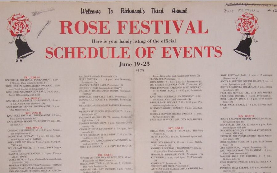 1974 Richmond Rose Festival Schedule of Events