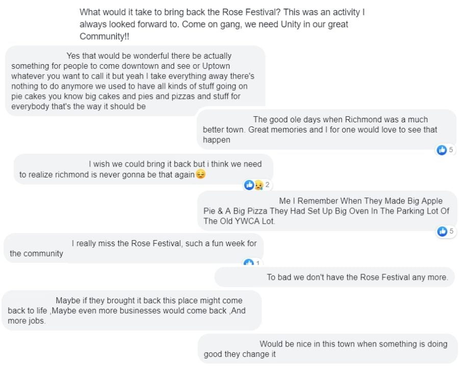 a sample of selected facebook comments of people wishing for the rose festival to return