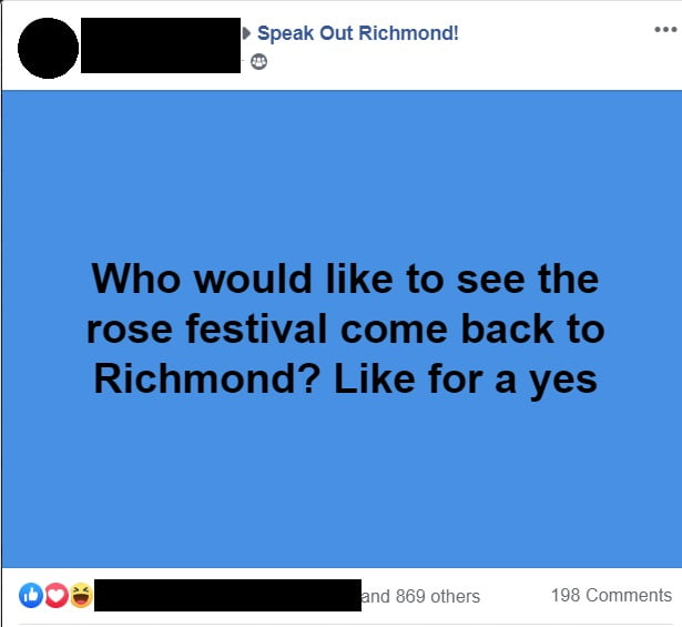 Rose Festival facebook comment asking how many likes to bring it back