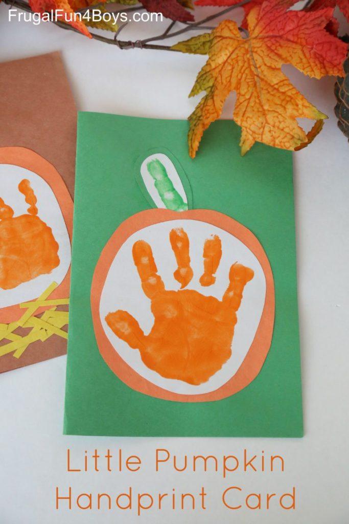 little pumpkin handprint card pinterest graphic