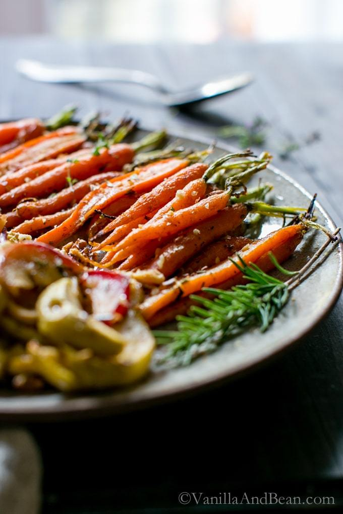 platter of maple roasted cardamon spiced carrots and apples