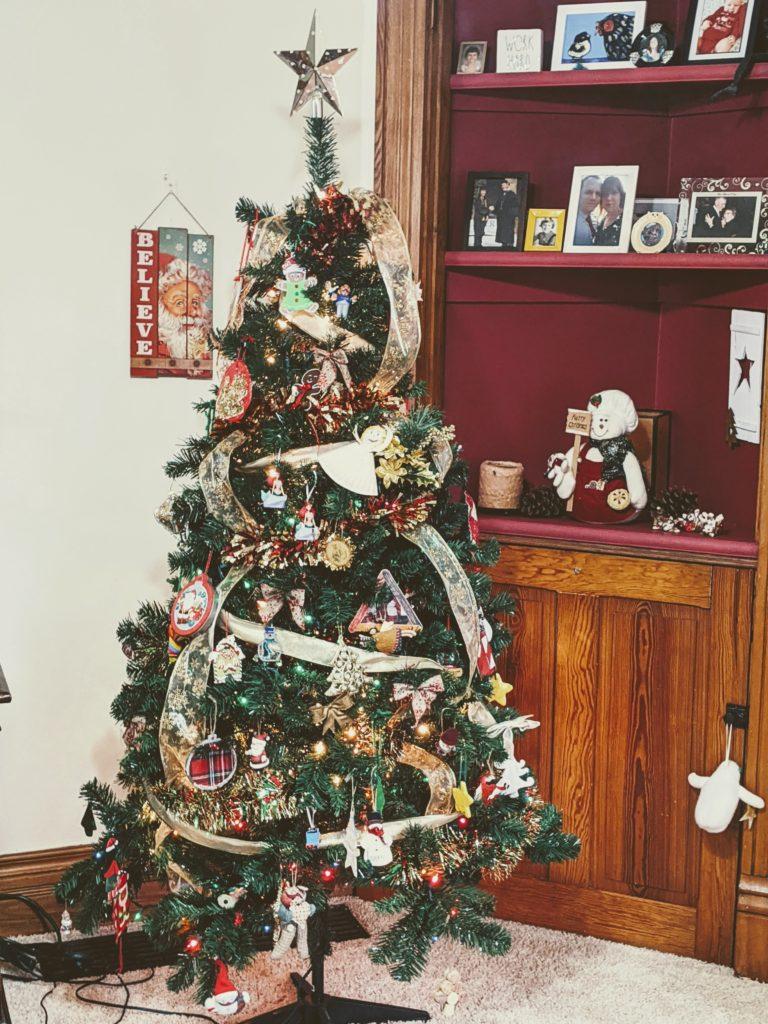 christmas tree featuring dollar tree ribbon