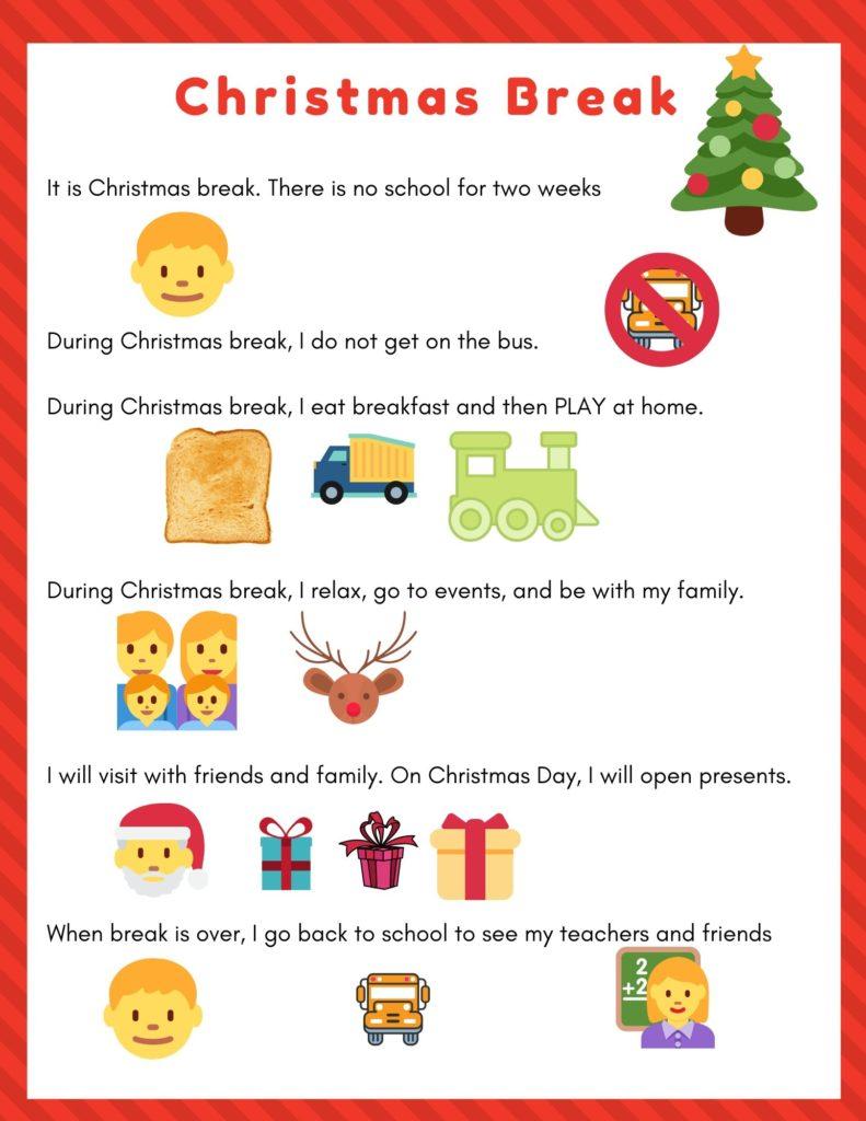 christmas break winter break social story for preschooler