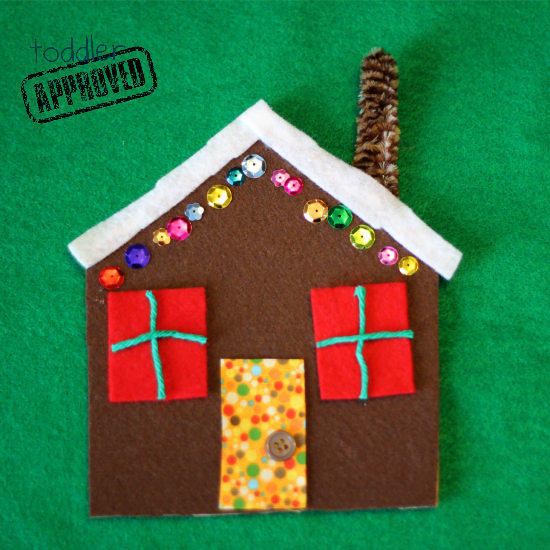 easy felt gingerbread house toddler craft