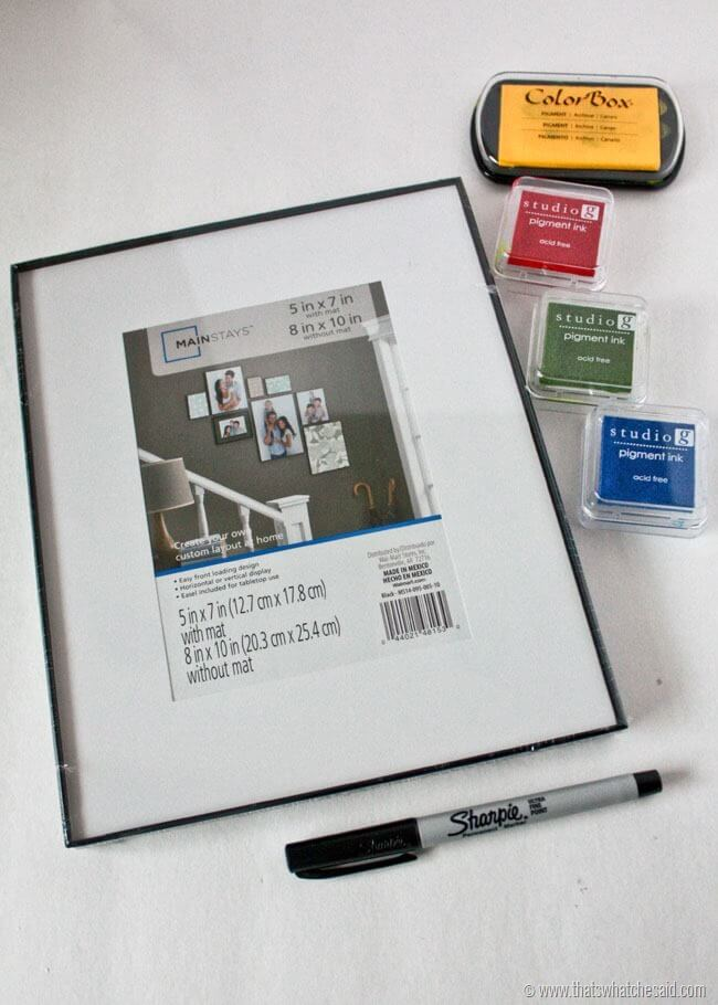 photo frame, marker, and ink pads for easy toddler christmas craft