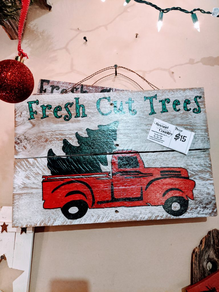 primitive woodworking red truck christmas sign from Beyond Country