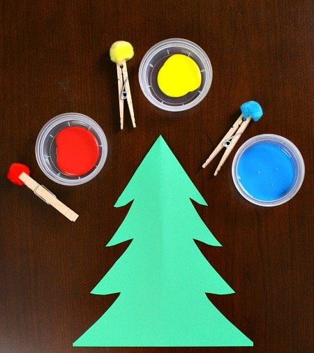 pom pom painting christmas tree activity