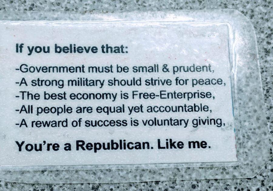 Republican Card that Phil Quinn carries around
