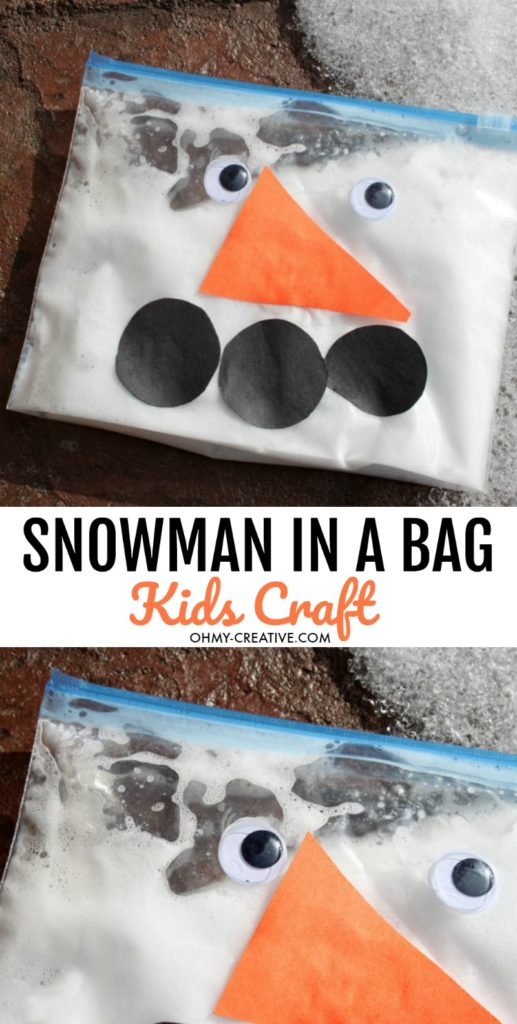 snowman in a bag sensory toddler and preschool craft