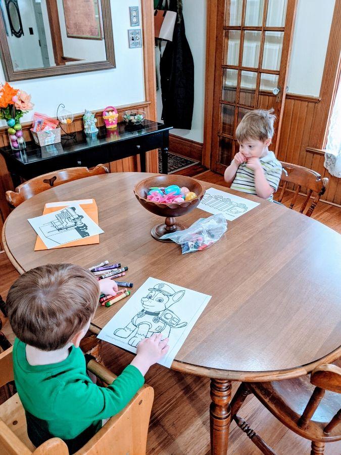 Big and Little A coloring during quarantine preschool
