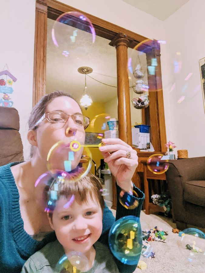 Megan and Big A blowing bubbles