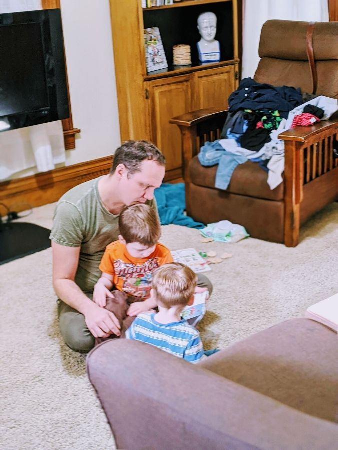 Josh leading reading time during home preschool