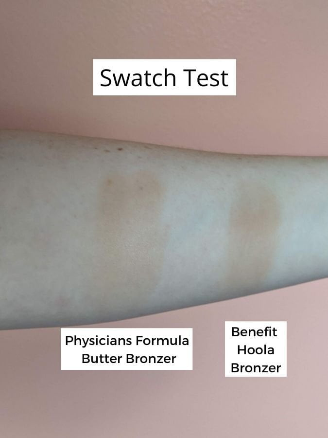 physicians formula butter bronzer swatch vs benefit hoola bronzer swatch