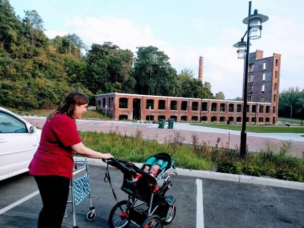 taking newborn Big A on a walk