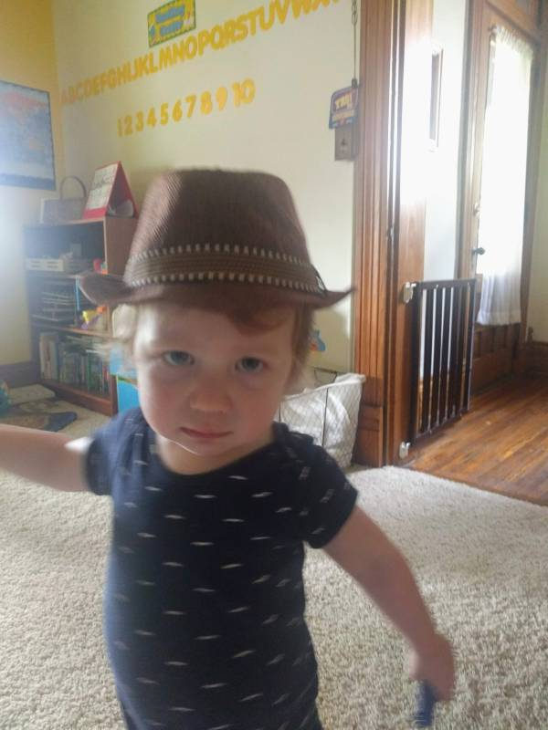 toddler Big A in a hat