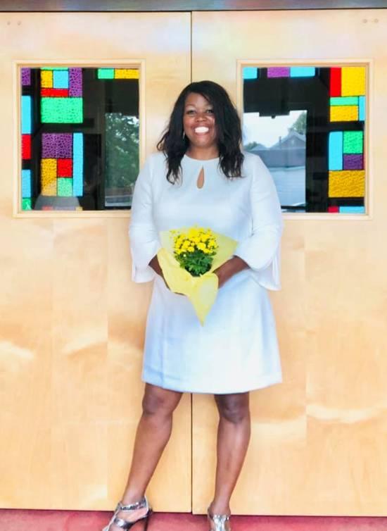 jeannine lee lake posing at church