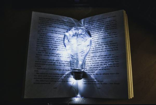 spooky book with lightbulb
