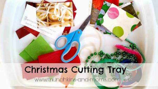 christmas cutting tray activity for toddlers and preschoolers