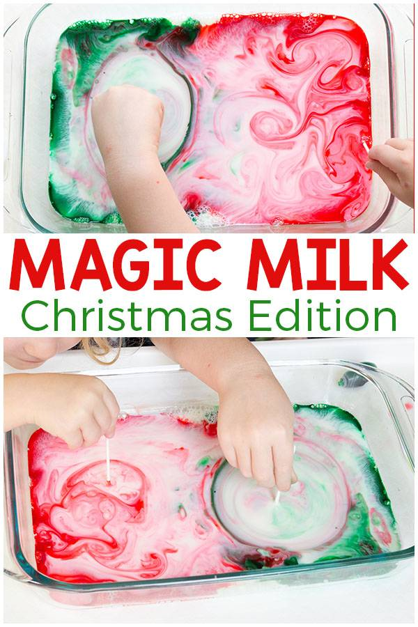 christmas magic milk easy activity for toddlers and preschoolers
