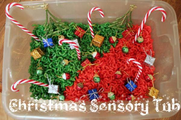 christmas sensory bin activity for toddlers and preschoolers