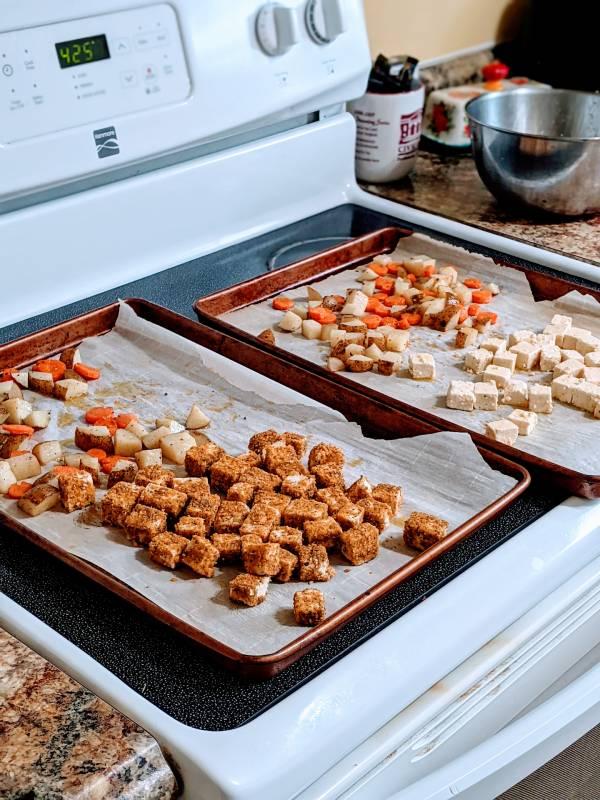 sheet pan meal tofu carrots and potato