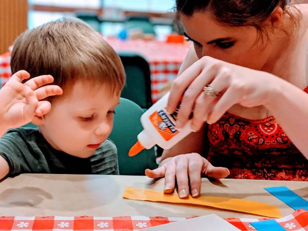 toddler activity at story time for early literacy