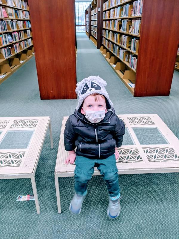 toddler at library