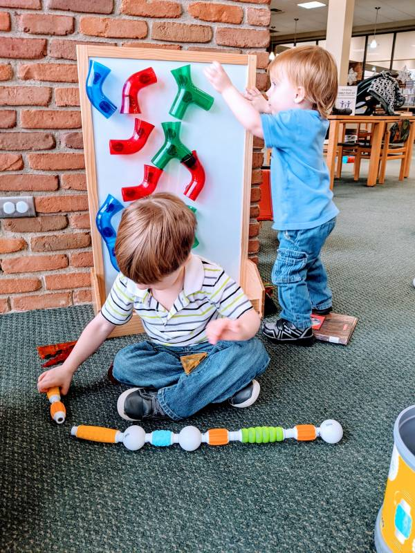 toddlers enjoying children play area at Morrisson Reeves library in Richmond Indiana