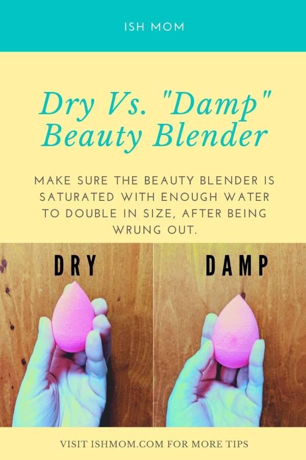 Dry and damp original Beauty Blender makeup sponge blog graphic