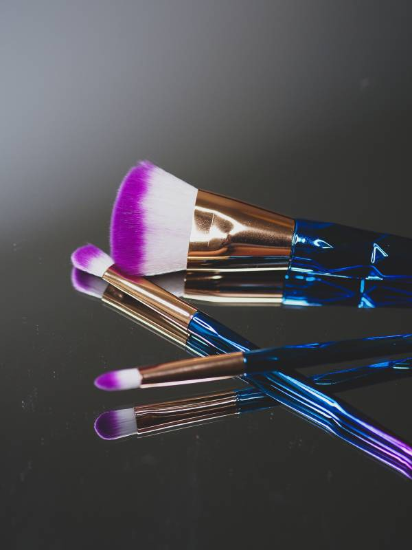 Makeup tools on a mirror