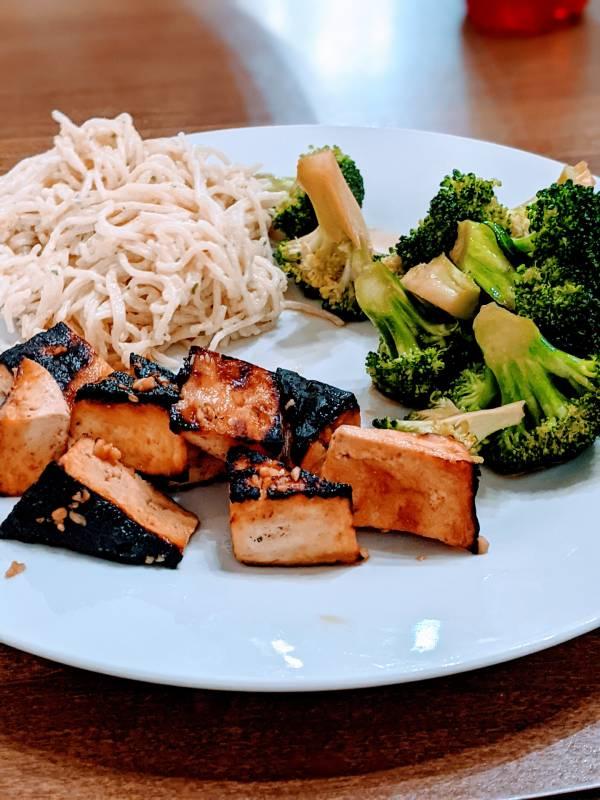 Veganish healthy dinner braised tofu